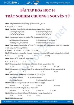 50 câu trắc nghiệm NC Hóa học 10 Chương 1 Cấu tạo Nguyên tử