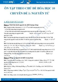 Chuyên đề ôn tập Nguyên tử môn Hóa học 10 có đáp án