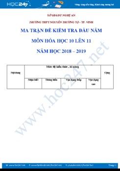 Ma trận Đề kiểm tra và đáp án đầu năm môn Hóa 10 lên 11 năm học 2018- 2019