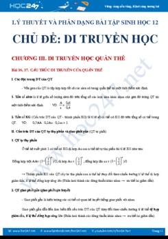 Lý thuyết và phương pháp giải bài tập Di truyền học Sinh học 12