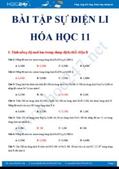 Bài tập trắc nghiệm Sự Điện Li - Chuyên đề Hóa 11 có đáp án