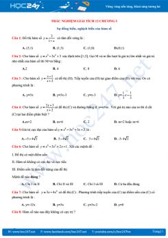 Trắc nghiệm sự đơn điệu của hàm số