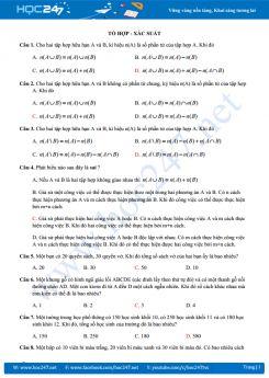 Tổ hợp xác suất  thi THPT QG cực hay và chất