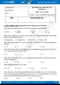 Đề và đáp án kiểm tra 1 tiết chương 1 môn Vật lý 9 năm học 2018-2019