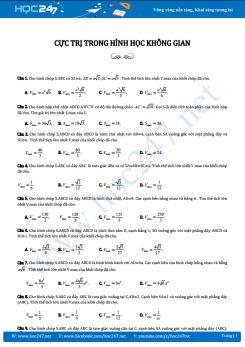 30 câu trắc nghiệm Cực trị hình học không gian có lời giải chi tiết