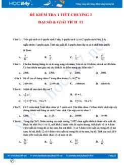 Đề kiểm tra 1 tiết Chương 2 ĐS & GT 11