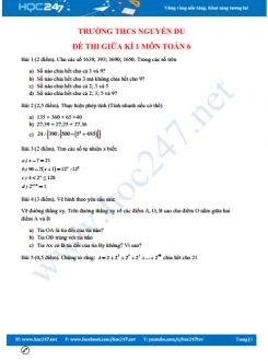 Đề kiểm tra giữa kì 1 môn Toán lớp 6 trường THCS Nguyễn Du
