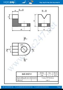 Bản vẽ hình chiếu Bài 3 SGK Công nghệ 11 Trang 21 chuẩn kích thước