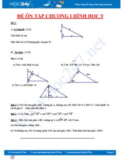 10 đề ôn tập kiểm tra chương 1 Hình học 9