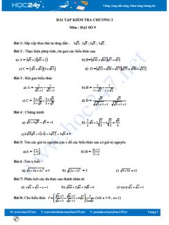 2 Đề kiểm tra 1 tiết Chương 1 Đại số 9