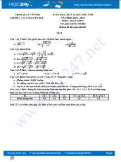 Đề kiểm tra CLĐN toán 9 trường THCS Nguyễn Huệ