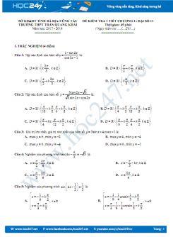 Đề Đề kiểm tra 1 tiết Chương 1 Đại số 11 năm 2017- Trường Trần Quang Khải
