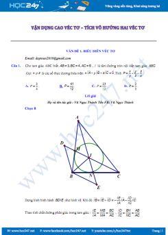 Bài tập vận dụng cao vecto - tích vô hướng của 2 vecto Hình học 10