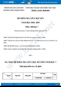 Đề thi giữa HK1 môn Sinh học 7 có đáp án năm học 2018-2019 THCS Thuận Hưng