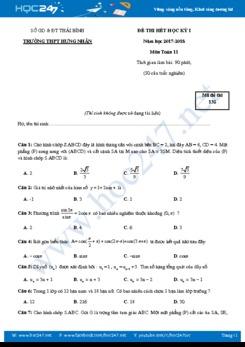 Đề thi học kì 1 môn Toán lớp 11 năm 2017 có đáp án- Trường THPT Hưng Nhân