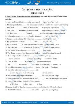 Đề cương ôn tập kiểm tra 1 tiết lần 2 Tiếng Anh lớp 8