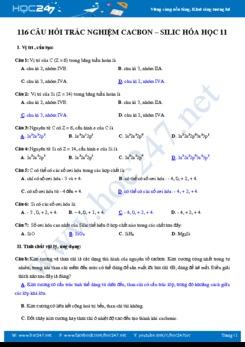 116 Câu hỏi trắc nghiệm Cacbon – Silic Hóa học 11 có đáp án