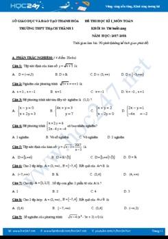 Đề thi học kì 1 môn Toán lớp 10 Trường THPT Thạch Thành I năm 2017 có đáp án chi tiết