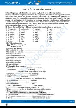 Bài tập ôn thi HK1 Tiếng Anh lớp 7