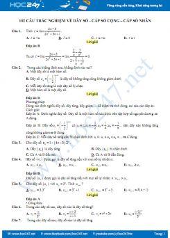 102 câu trắc nghiệm về Dãy số - Cấp số cộng - Cấp số nhân có lời giải