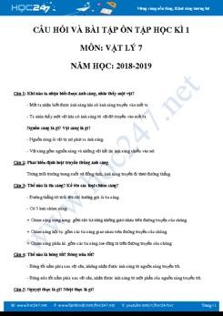 Đề cương ôn tập HK1 môn Vật lý 7 năm học 2018-2019