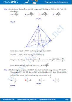 52 câu trắc nghiệm Chuyên đề Khối đa diện Hình học 12 có đáp án chi tiết