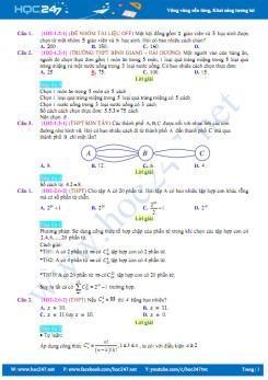 190 câu trắc nghiệm chuyên đề Tổ hợp - Xác suất có lời giải