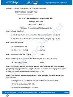 Đề khảo sát chất lượng HK1 môn Toán 6 năm 2018 Trường THCS Nguyễn Trãi - Tây Ninh có đáp án