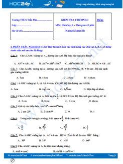 Đề kiểm tra 1 tiết Chương 1 Hình học 9 Trường THCS Trần Phú có đáp án