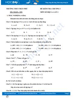 Đề kiểm tra 1 tiết Chương 1 Số học 6 Trường THCS Trần Phú có đáp án