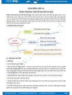 Phân tích Bài thơ số 28 của R.Tago