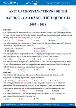 Axit cacboxylic trong đề thi Đại học- Cao đẳng- THPT QG (2007 - 2018)