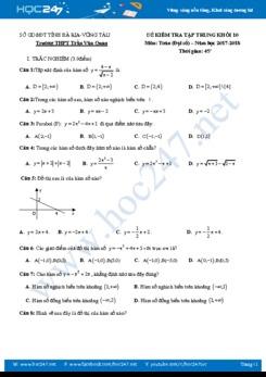 Đề kiểm tra 1 tiết Chương 2 Đại số 10 Trường THPT Trần Văn Quan năm học 2017 - 2018 có đáp án chi tiết