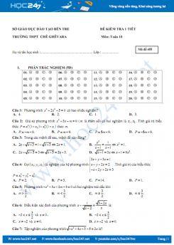Đề kiểm tra 1 tiết chương 3 Đại số 10 Trường THPT CHÊ GHÊVARA có đáp án chi tiết