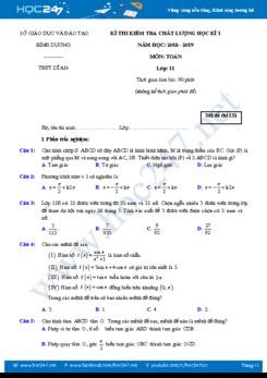 Đề thi học kì 1 môn Toán lớp 11 Trường THPT Dĩ An năm học 2018 - 2019 có đáp án chi tiết