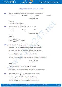 41 câu trắc nghiệm ôn tập Chương Bất đẳng thức có đáp án chi tiết