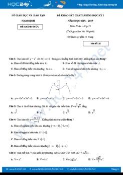 Đề thi học kì 1 môn Toán lớp 12 Sở GD & ĐT Nam Định năm học 2018 - 2019