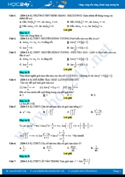 97 câu trắc nghiệm Chương 4 Giới hạn Giải tích lớp 11 có đáp án chi tiết