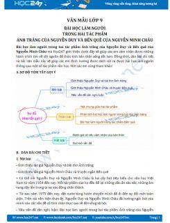 Bài học làm người trong hai tác phẩm Ánh trăng của Nguyễn Duy và Bến quê của Nguyễn Minh Châu