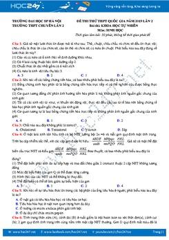 Đề thi thử THPT QG môn Sinh lớp 12 năm 2019 - Trường Chuyên Sư Phạm Hà Nội - Lần 2