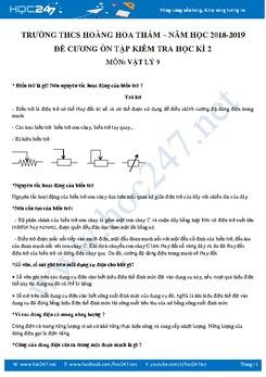 Đề cương ôn tập HK2 môn Vật lý 9 năm 2019 trường THCS Hoàng Hoa Thám