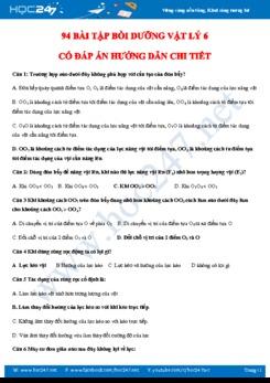 94 bài tập bồi dưỡng Vật lý 6 có đáp án hướng dẫn chi tiết
