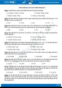 Tổng hợp bài tập quần thể Sinh học 9