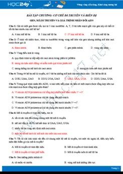 Bài tập Chương Cơ chế biến dị và di truyền lớp 9