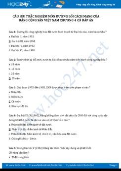 Câu hỏi trắc nghiệm môn Đường lối cách mạng của ĐCSVN có đáp án - Chương 4