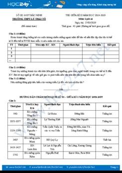 Đề thi HK2 môn Lịch Sử 10 năm 2019 - Trường THPT Lý Thái Tổ