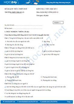 Đề kiểm tra 1 tiết HK1 môn GDCD lớp 11 Trường THPT Thuận An năm 2018 - 2019