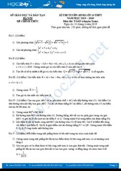 Đề thi tuyển sinh lớp 10 môn Toán năm 2019 Sở GD&ĐT Hà Nội (Chuyên Toán)