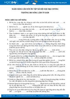 Ngân hàng câu hỏi ôn tập Xã hội học đại cương - ĐH Nông Lâm TP.HCM