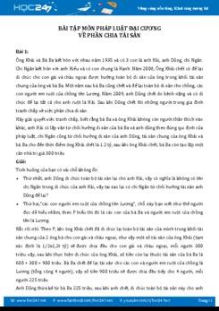 Bài tập môn Pháp luật đại cương - Phần chia tài sản